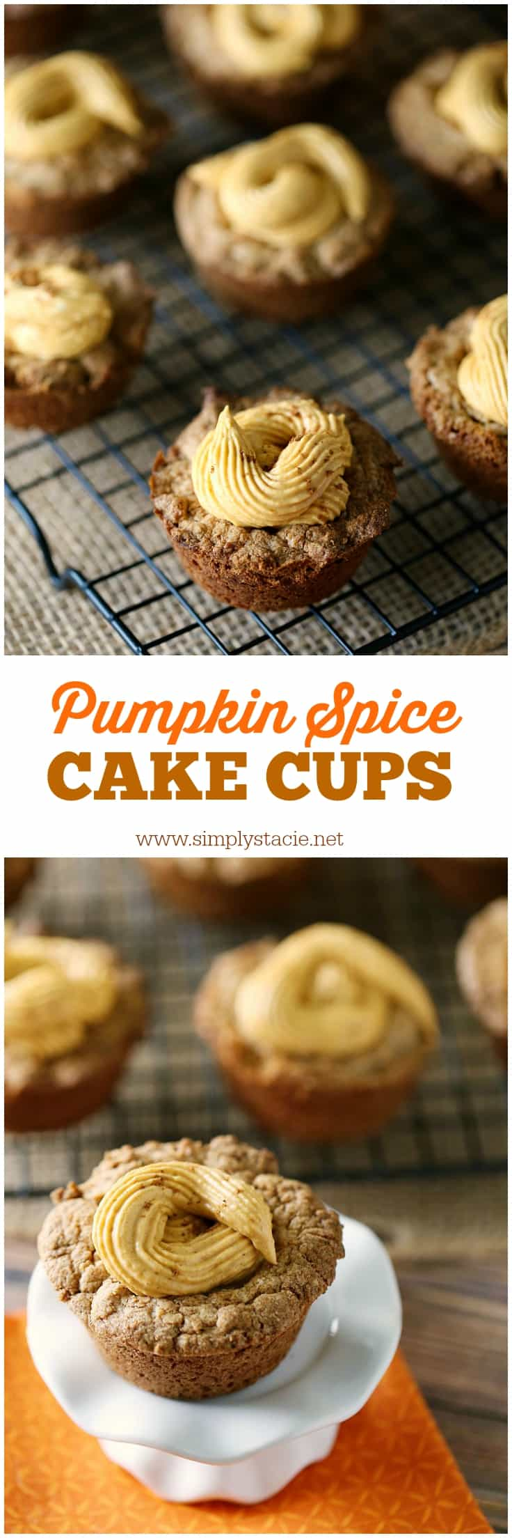 Pumpkin Spice Cake Cups - Calling all pumpkin spice lovers! These delicious spice cake cups are filled to the brim with sweet pumpkin spice cheesecake filling for a delicious and decadent fall dessert.