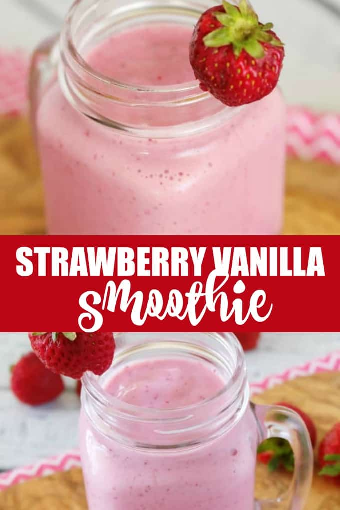 Strawberry Vanilla Smoothie - Protein packed from silken tofu, this delicious smoothie stays ice cold using convenient frozen strawberries and dairy-free milk.