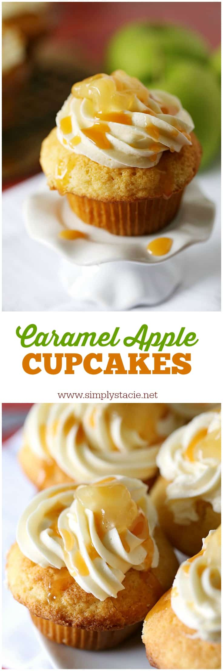Caramel Apple Cupcakes - Every bite is sweeter than the next! This cupcake recipe will soon become a favourite treat.