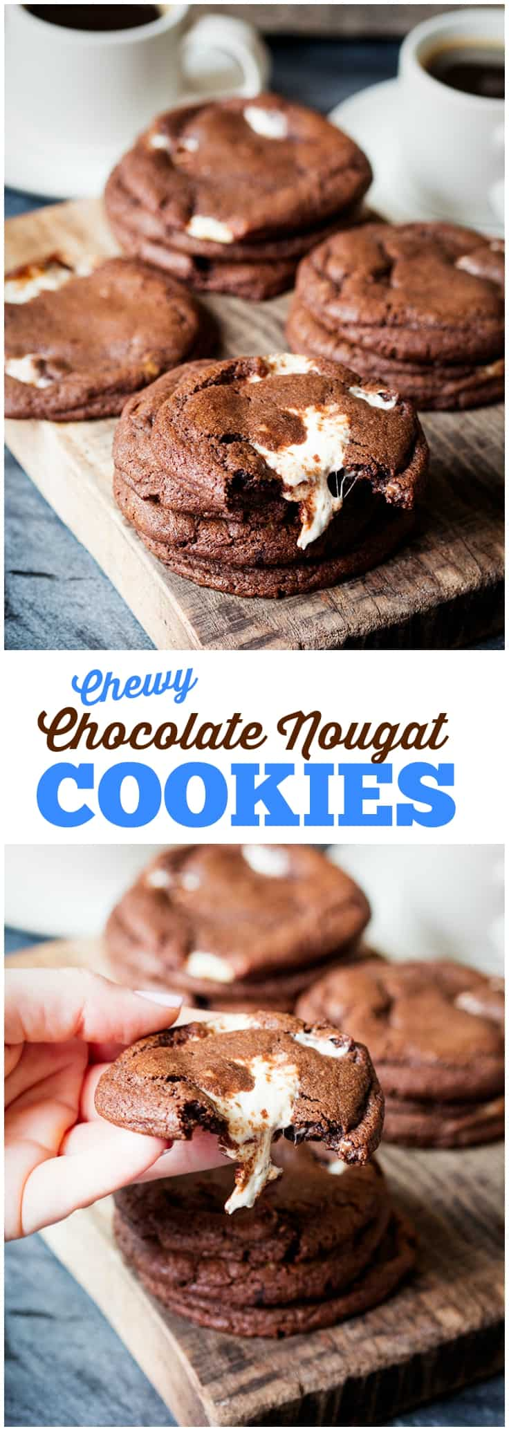 Chewy Chocolate Nougat Cookies - Simply Stacie