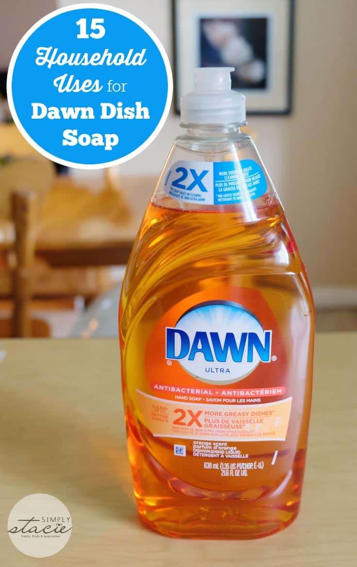 Dish soap is mild enough that it can be used as a substitute for shampoo and body soap. This is a favorite trick of backpack campers—bringing along a small bottle of dish soap to serve all cleaning needs. Use the dish soap in the same way you would use liquid body soap: squirt a small amount onto your palm, then apply to scalp or body.