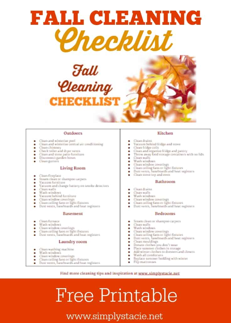 Fall Cleaning Schedule with Free Printable - Get organized with this fall cleaning schedule with a free printable checklist! Stay on task and have your home looking great in time for Thanksgiving.