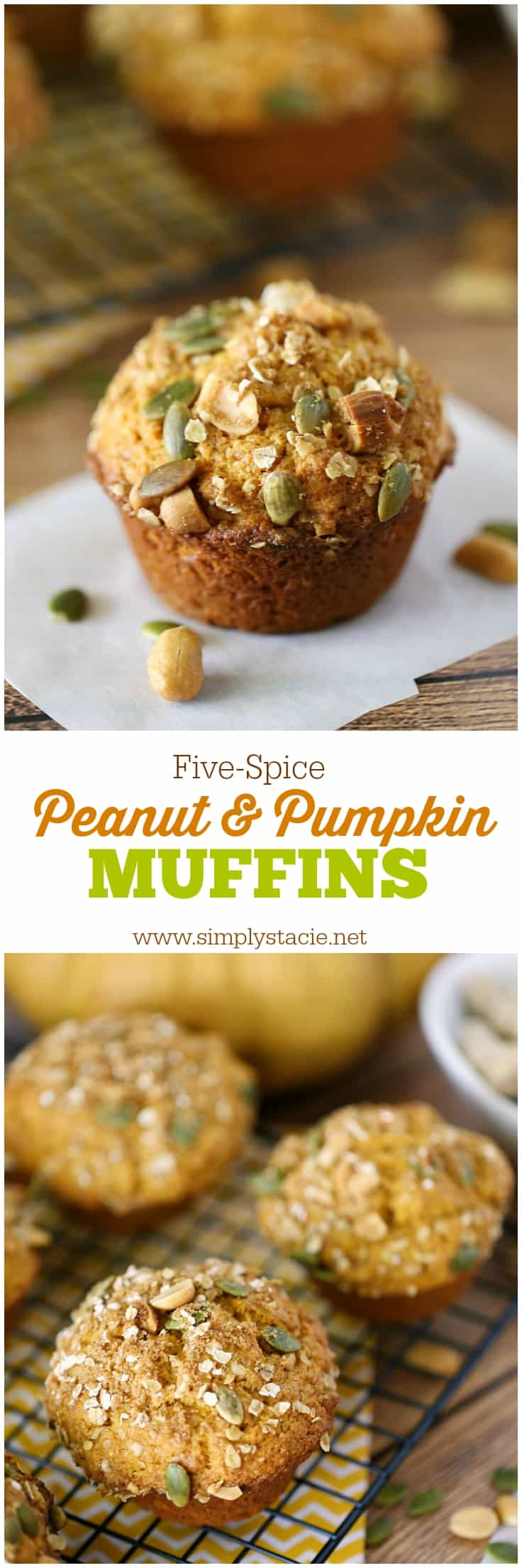 Five-Spice Peanut & Pumpkin Muffins - Incredibly moist and delicious, these muffins are easy to make and perfect for fall.