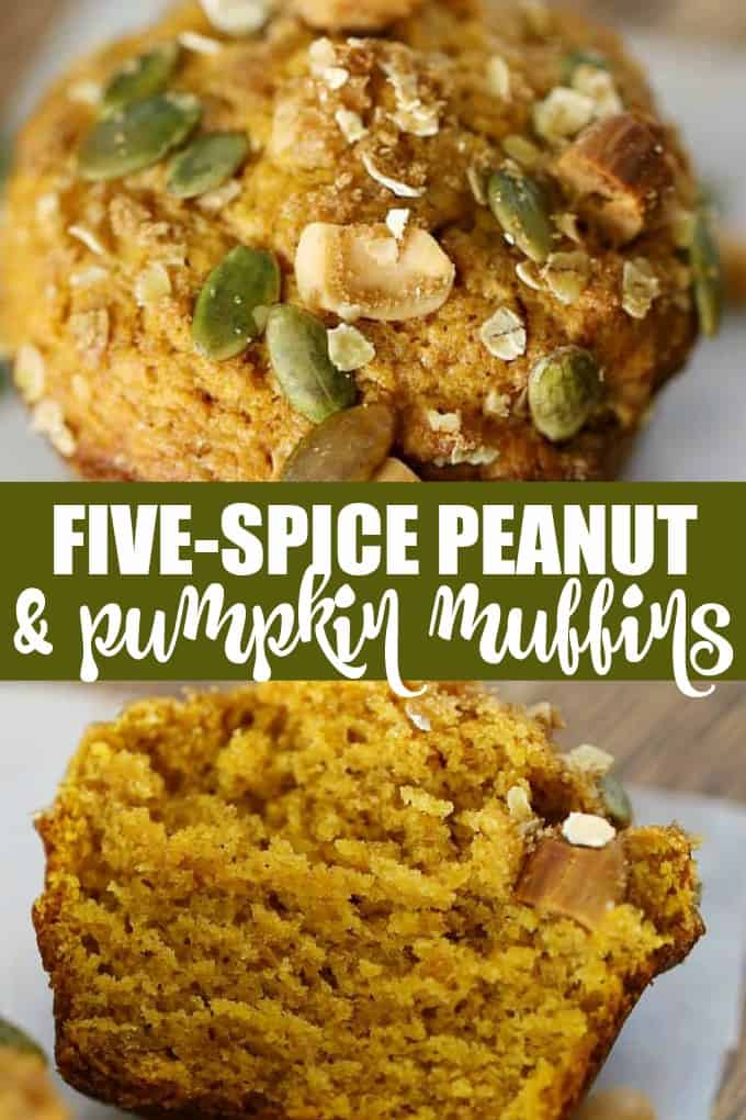 Five-Spice Peanut & Pumpkin Muffins - These muffins are protein packed thanks to peanuts! The combination of pumpkin, peanuts and five-spice powder will take you into the fall.