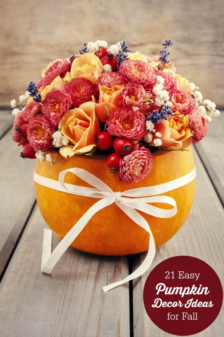 21 Easy Pumpkin Decor Ideas for Fall - Get inspired with these 21 easy pumpkin decor ideas for fall. Your home will look great and you won't have to spend a ton of money.