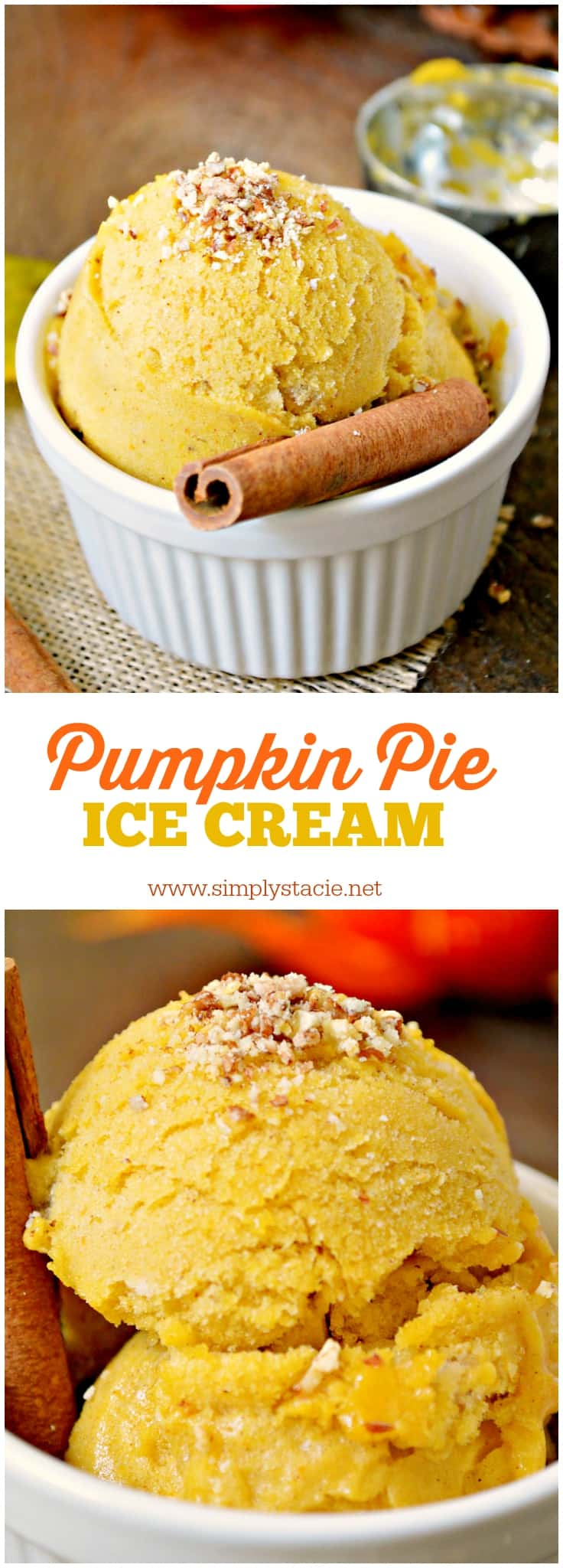 Pumpkin Pie Ice Cream - Luscious, creamy and perfect for fall, this Pumpkin Pie Ice Cream is a real treat. Plus, it's dairy-free and made with natural ingredients.
