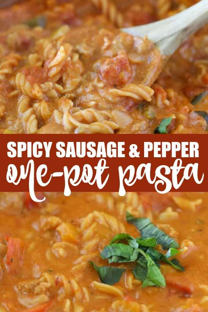 Spicy Sausage & Pepper One-Pot Pasta - Enjoy a big bowl of comfort food with this simple dinner recipe.