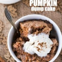 Slow Cooker Pumpkin Dump Cake - The name is a little weird, but don't let it scare you off. You'll love this easy fall dessert!
