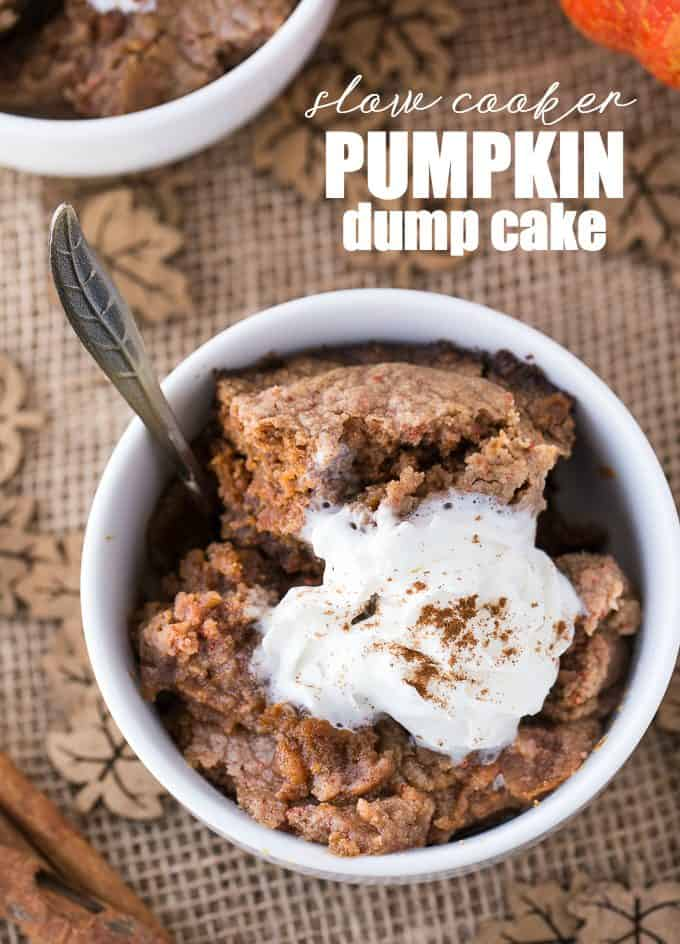 A quick and easy Pumpkin Dump Cake made right in the slow cooker. An easy pumpkin recipe to make for fall. Dump cakes are so simple to make, and when you add in the slow cooker, it makes it a super yummy hands-off recipe.
