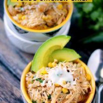 Slow Cooker Verde Chicken Chili - An easy white chili recipe with a spicy kick. This Slow Cooker Verde Chicken Chili will make your mouth water!