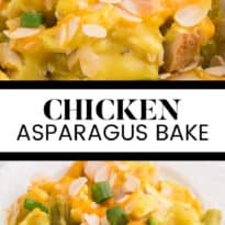 Chicken Asparagus Bake - Easily one of my favourite casserole dishes! It's loaded with asparagus, chicken, creamy curry sauce and smothered in cheese and sliced almonds.