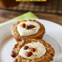 Carrot Cake Cups - Take a box of cake mix to a whole new level with this recipe for Carrot Cake Cups! The cream cheese filling is smooth, sweet and perfect.