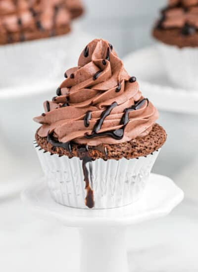 Death by chocolate cupcake on a cupcake stand