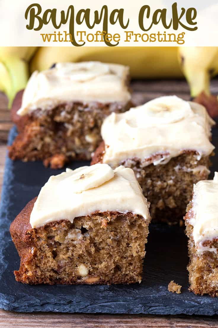 Banana Cake with Toffee Frosting - A deliciously moist banana cake with a rich toffee frosting. It's also easy to make and the perfect way to use up those brown bananas!