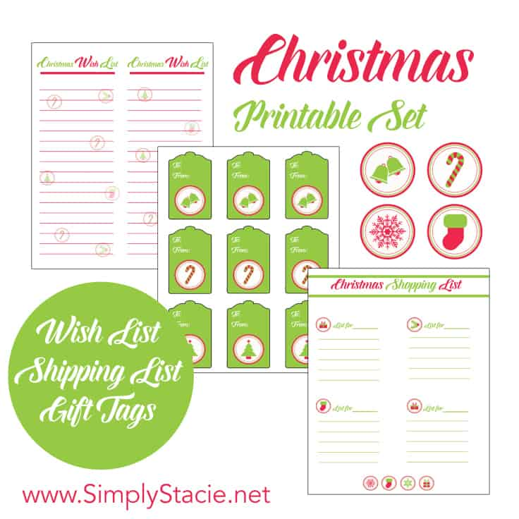 Free Christmas Printables - Get set for the holidays with these free Christmas printables! This set includes a festive wish list, shopping list and gift tags.