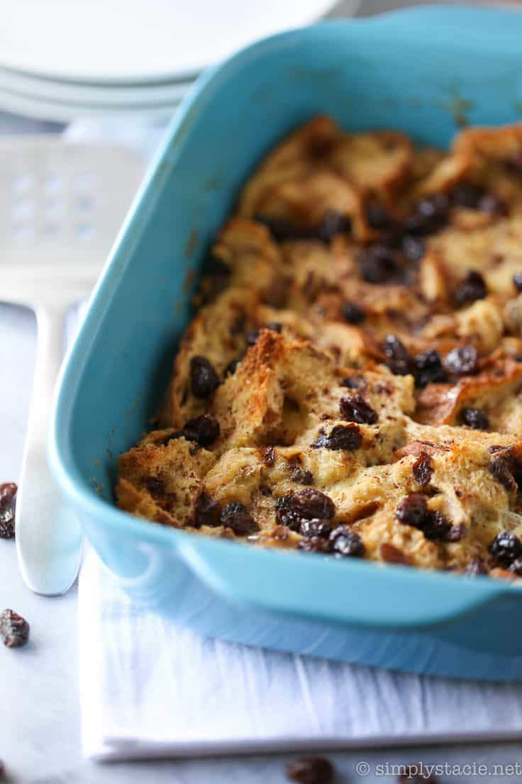Cinnamon Raisin Breakfast Casserole - Sweeten your mornings with this divine Cinnamon Raisin Breakfast Casserole recipe! It's bursting with raisins, cinnamon and yummy raisin bread.