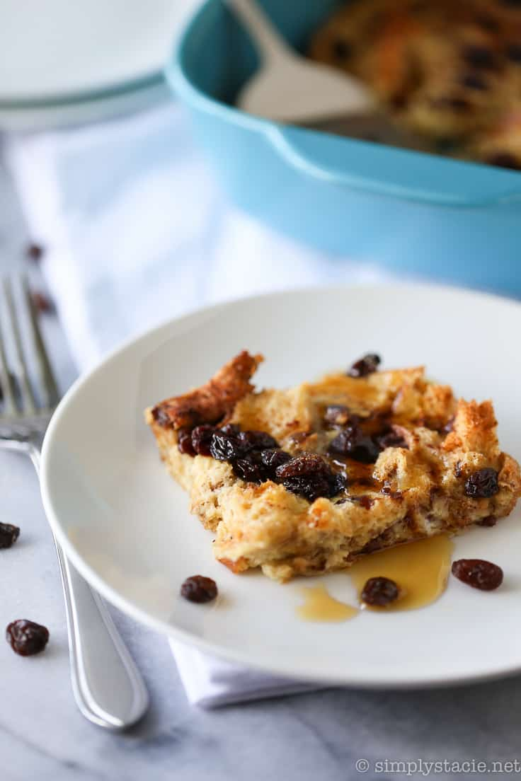 Cinnamon Raisin Breakfast Casserole - Sweeten your mornings with this divine Cinnamon Raisin Breakfast Casserole recipe! It's bursting with raisins, cinnamon and yummy raisin bread.
