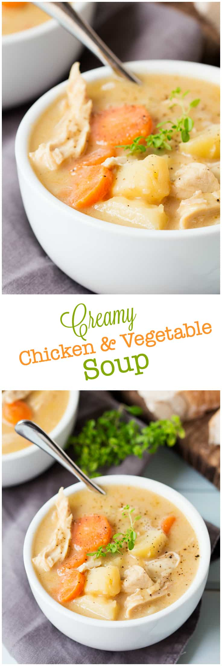 Creamy Chicken and Vegetable Soup - Use your leftover chicken bones to make the creamiest soup tonight! You only need 6 simple ingredients to make this yummy and comforting chicken soup.