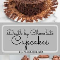 death by chocolate cupcakes two image collage pin