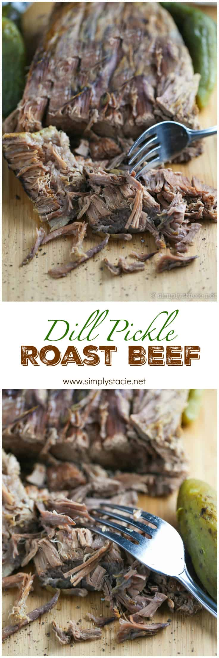 Dill Pickle Roast Beef - This might be the most simple slow cooker recipe ever! Dump a jar of pickles in a slow cooker with your preferred cut of beef. You'll be amazed in 8 hours!