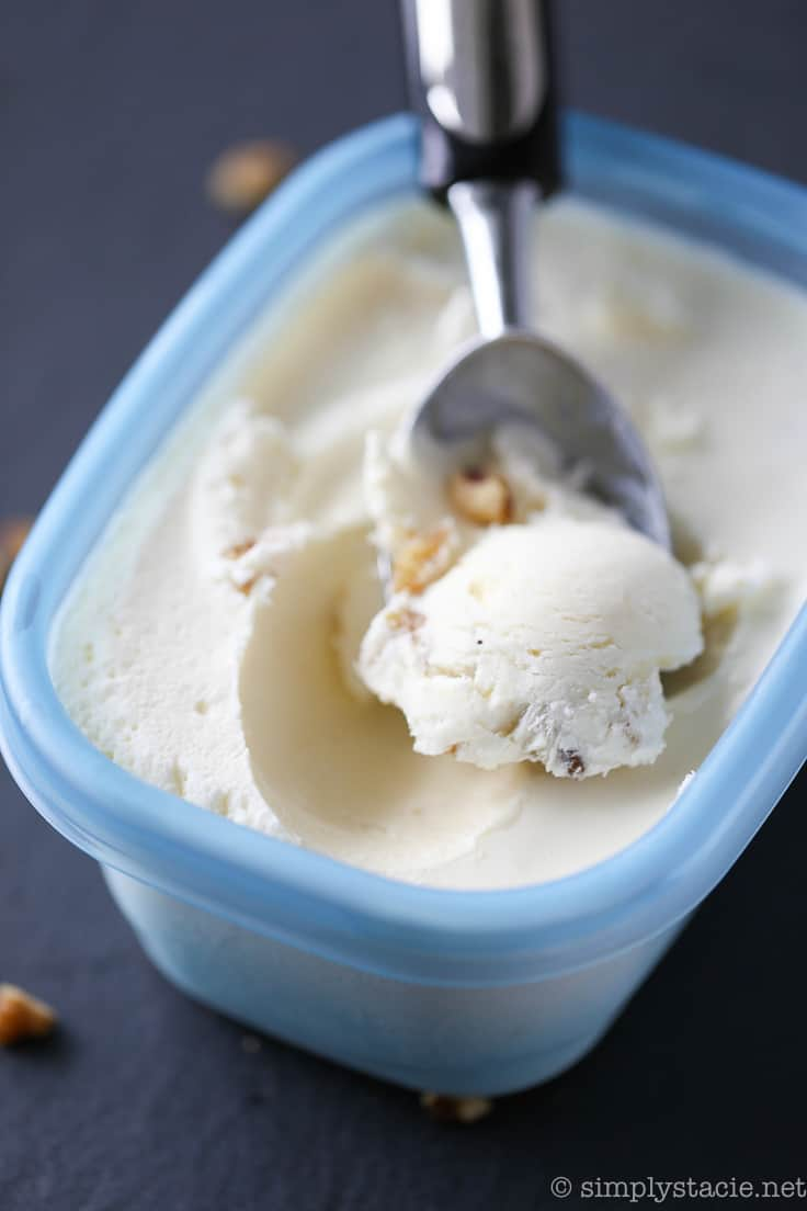 Maple Walnut Ice Cream - Creamy, smooth and sweet recipe for Maple Walnut Ice Cream. This no churn ice cream is super easy and no special equipment is required!