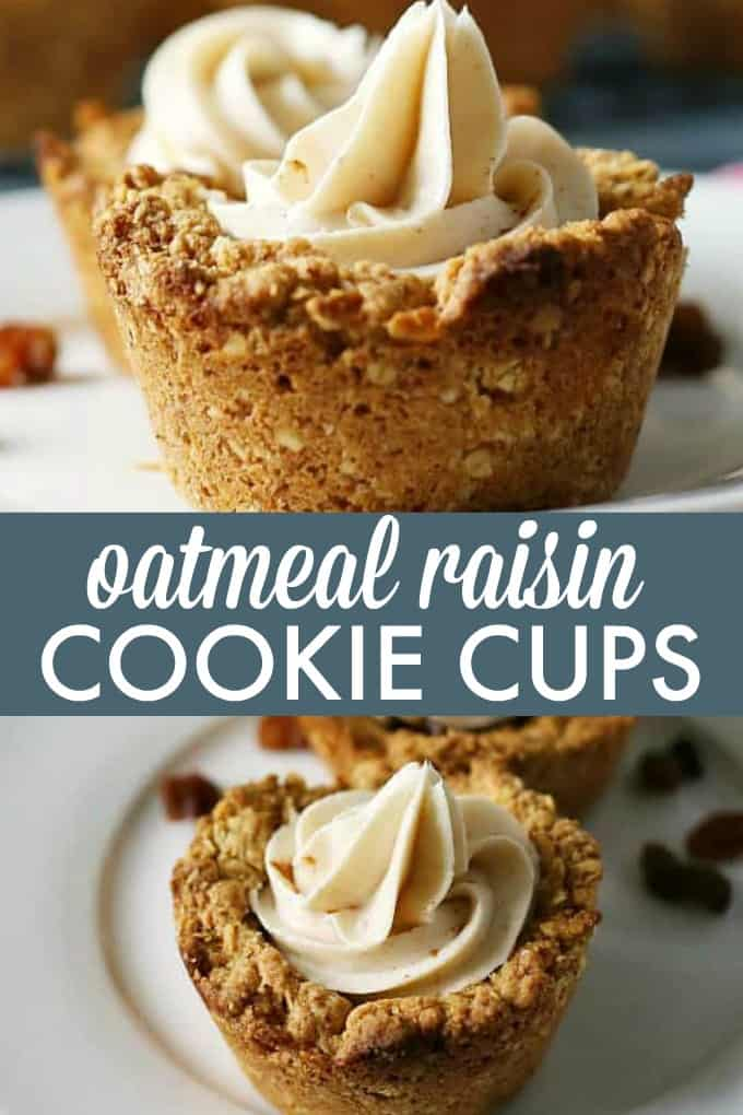 Oatmeal Raisin Cookie Cups - Nestled inside an oatmeal cookie cup is a layer of raisin pie filling topped with cinnamon cream cheese.