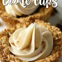 Oatmeal Raisin Cookie Cups - Nestled inside an oatmeal cookie cup is a layer of raisin pie filling topped with cinnamon cream cheese. This Oatmeal Raisin Cookie Cup is out of this world!
