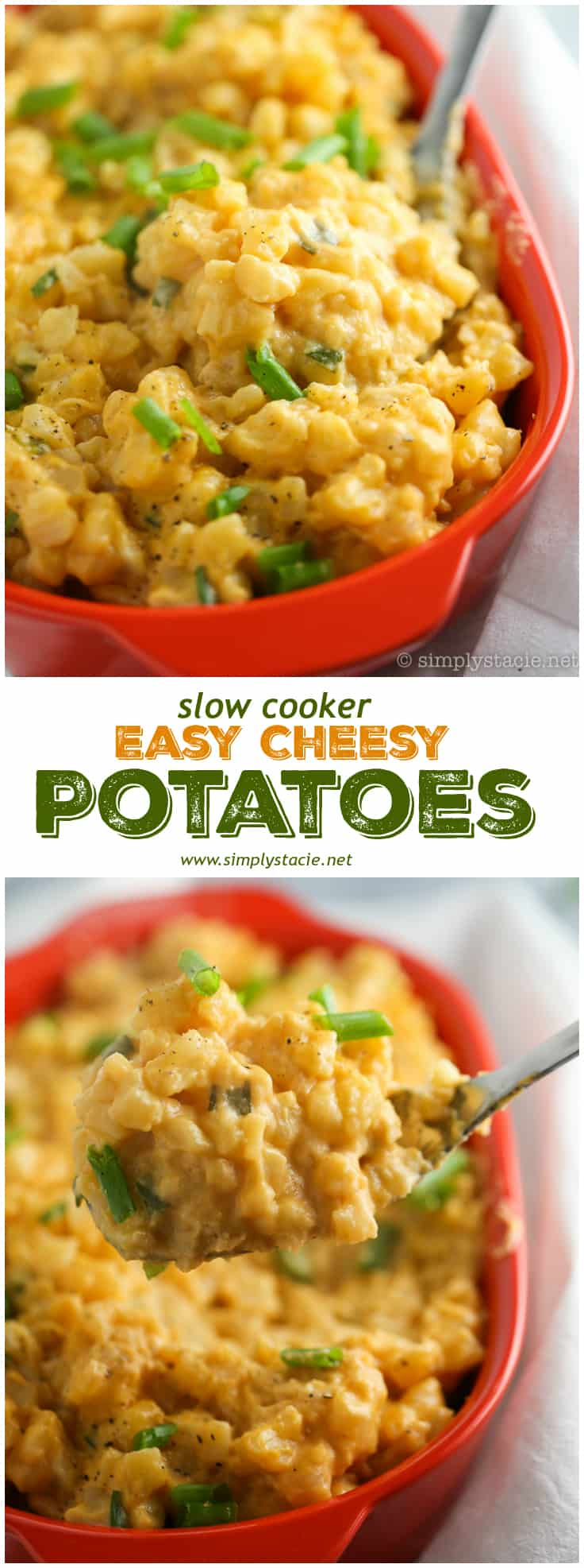 Slow Cooker Cheesy Potatoes is a cheesy and tasty side dish to pair with your weeknight dinner. Frozen hashbrowns, canned cheese soup and a few other ingredients are all you need for this easy potato recipe.