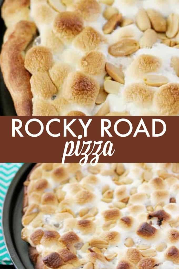Rocky Road Pizza - Dessert pizza extraordinaire loaded with marshmallows, creamy Nutella and crunchy peanuts!