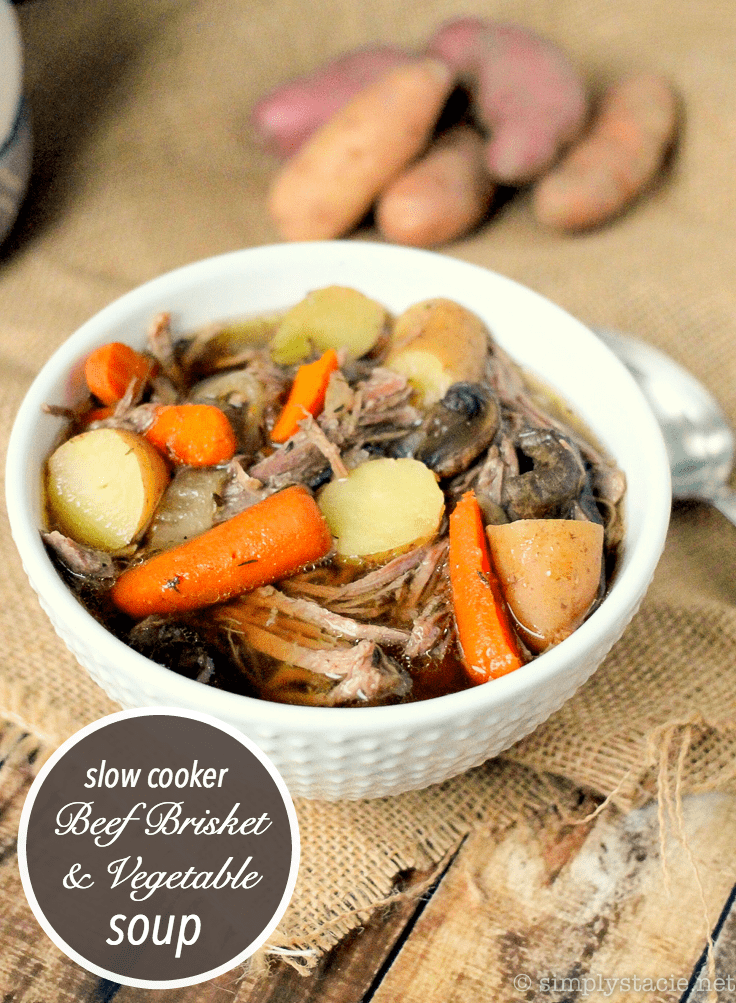 Slow Cooker Beef Brisket & Vegetable Soup - The easiest beef soup recipe! Loaded with fall-apart tender brisket, potatoes, carrots, and celery for the perfect Crockpot soup.