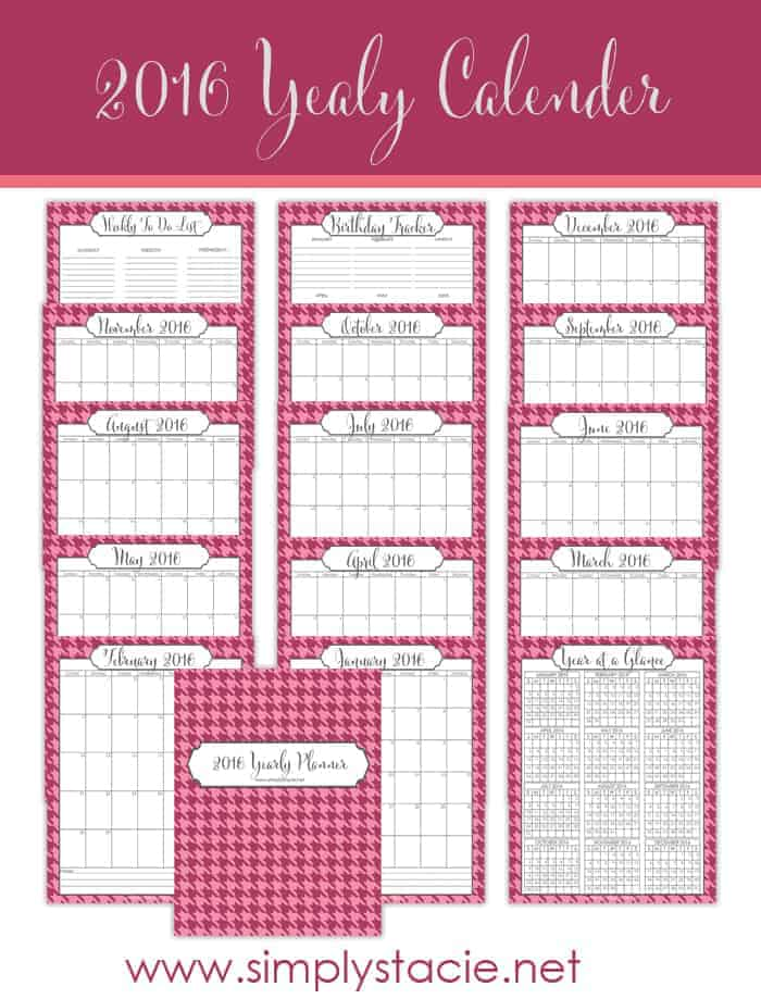 Free 2016 Yearly Calendar Printables -  Get organized in 2016 with my free Yearly Calendar Printables! It includes a monthly calendar, birthday tracker and weekly to-do list.