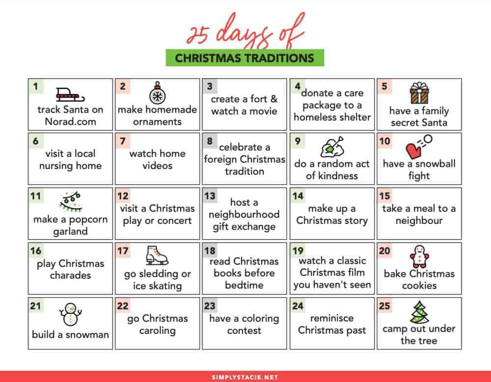 25 Days of Christmas Traditions - make Christmas memories with this fun calendar!