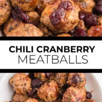 Chili Cranberry Fusion Meatballs - A delicious holiday appetizer! The comforting flavors of cranberry and chili combine for these slow cooker chicken meatballs.