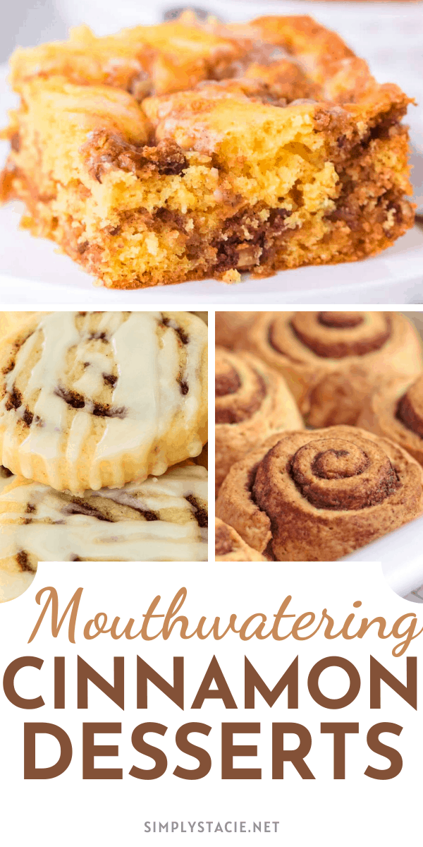 Mouthwatering Cinnamon Desserts - Cinnamon adds a delicious spice element to a dessert recipe. From rolls to pies to cake, these sweet delights will make your mouth water!