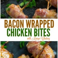 Bacon Wrapped Chicken Bites with Mango Chutney #TheCulturedKitchen #PataksMom