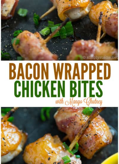 Bacon Wrapped Chicken Bites with Mango Chutney #TheCulturedKitchen #PataksMom