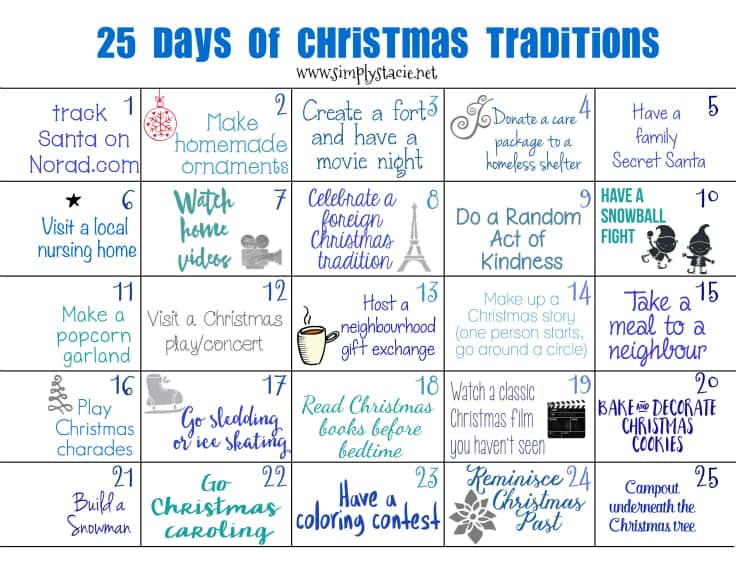 25 Days of Christmas Traditions - make Christmas memories with this fun calendar!