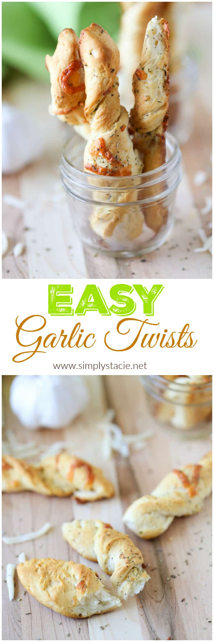 Easy Garlic Twists - This delicious recipe is a crowd favourite with only a few ingredients! Use refrigerated biscuits to save time. | simplystacie.net