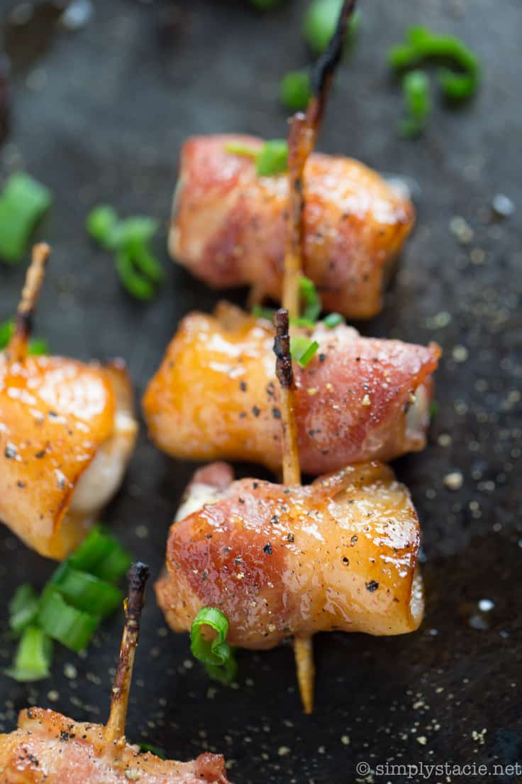 Bacon Wrapped Chicken Bites with Mango Chutney - Sweet Mango Chutney is the perfect sauce for these delicious Bacon Wrapped Chicken Bites. Your holiday party will be complete with this appetizer recipe.