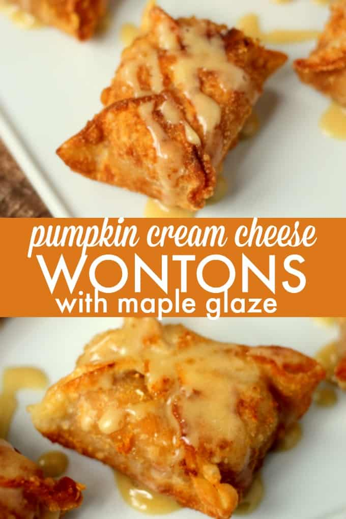 Pumpkin Cream Cheese Wontons with Maple Glaze - Amazing Asian-inspired dessert! Wontons packed with fall flavor and glazed in maple goodness are perfect for your next party.