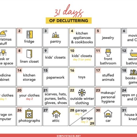 31 Days of Decluttering - Make this year the year you get your home organized! With this 31 days of decluttering challenge, you'll be well on your way.