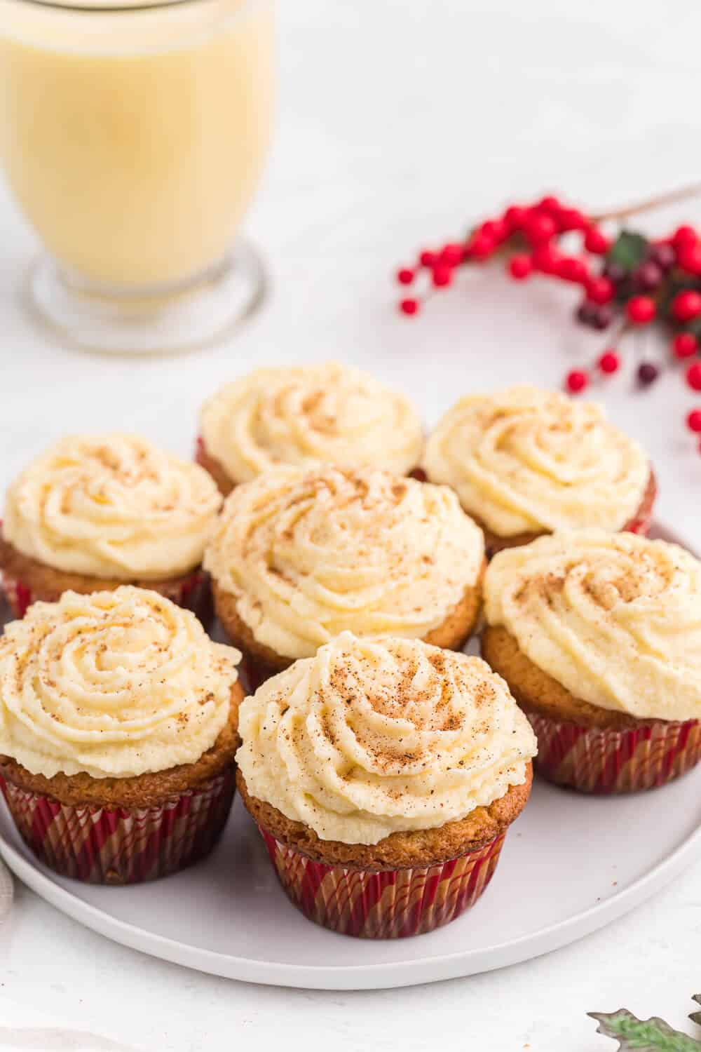 Eggnog cupcakes on a white plate
