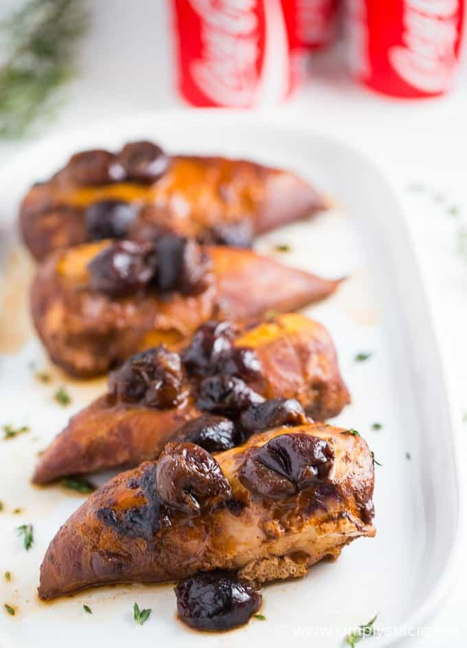 Cherry Coke Chicken is a slow cooker recipe you will love to try. 4 simple ingredients for one savory and sweet chicken recipe. Easy dump and go chicken recipe to make for dinner for the family.