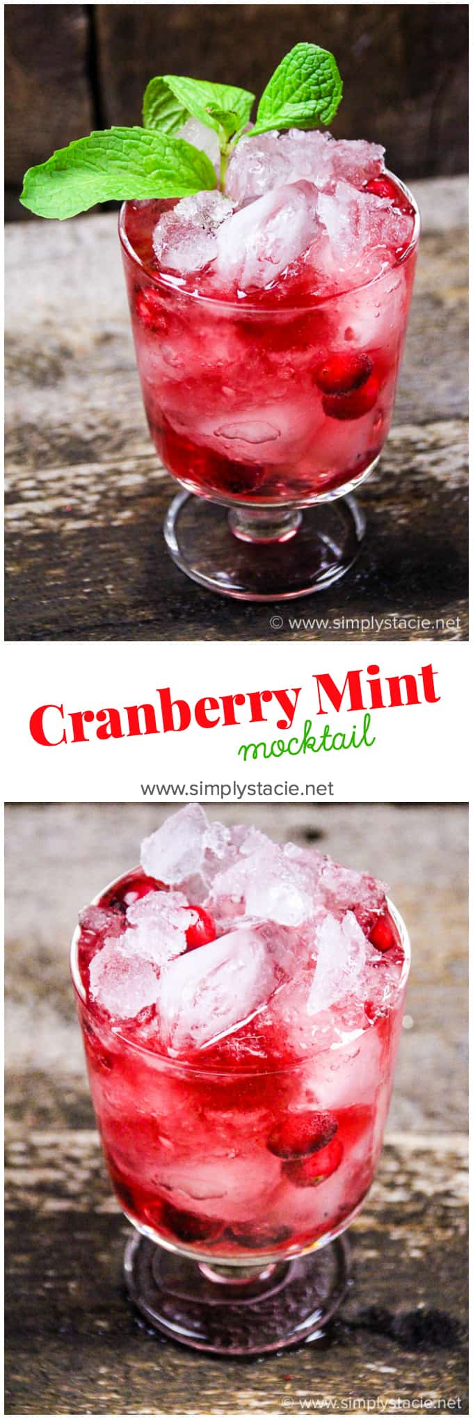 Cranberry Mint Mocktail - This mocktail is the perfect holiday party beverage. The red cranberries and green mint echo the colours of the season, with a sweet, refreshing and bubbly tang!