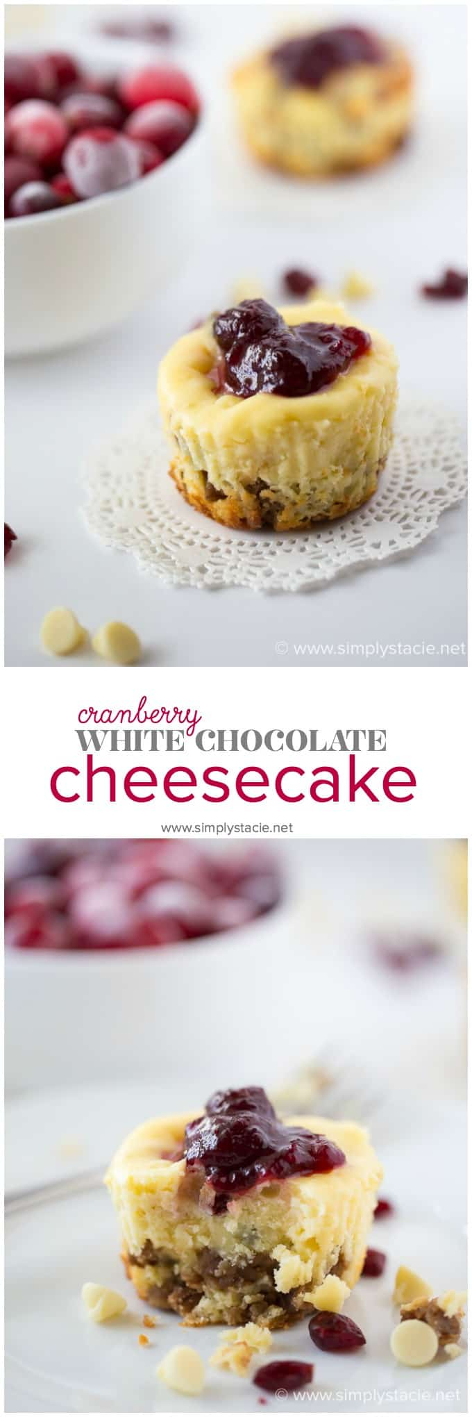 Cranberry White Chocolate Cheesecake - A festive dessert that's mini in size, but huge on flavour! Rich cheesecake filling packed with white chocolate chips and cranberries nestled on a chocolate granola crust.