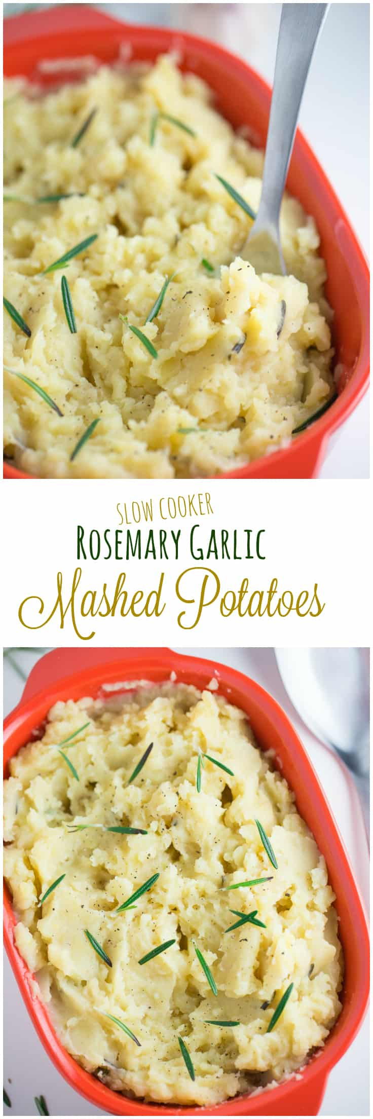Slow Cooker Rosemary Garlic Mashed Potatoes - The best way to make mashed potatoes! These Slow Cooker Rosemary Garlic Mashed Potatoes are made with fresh rosemary, garlic cloves and ready in 3 hours.