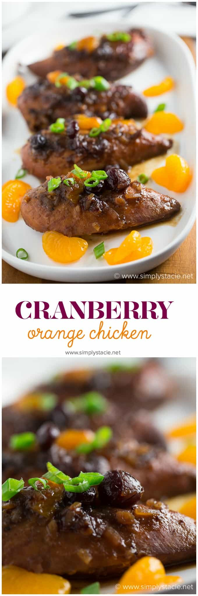 Slow Cooker Cranberry Orange Chicken - Moist chicken breast covered in a sweet cranberry orange glaze with a hint of ginger. My family couldn't get enough of this easy recipe.