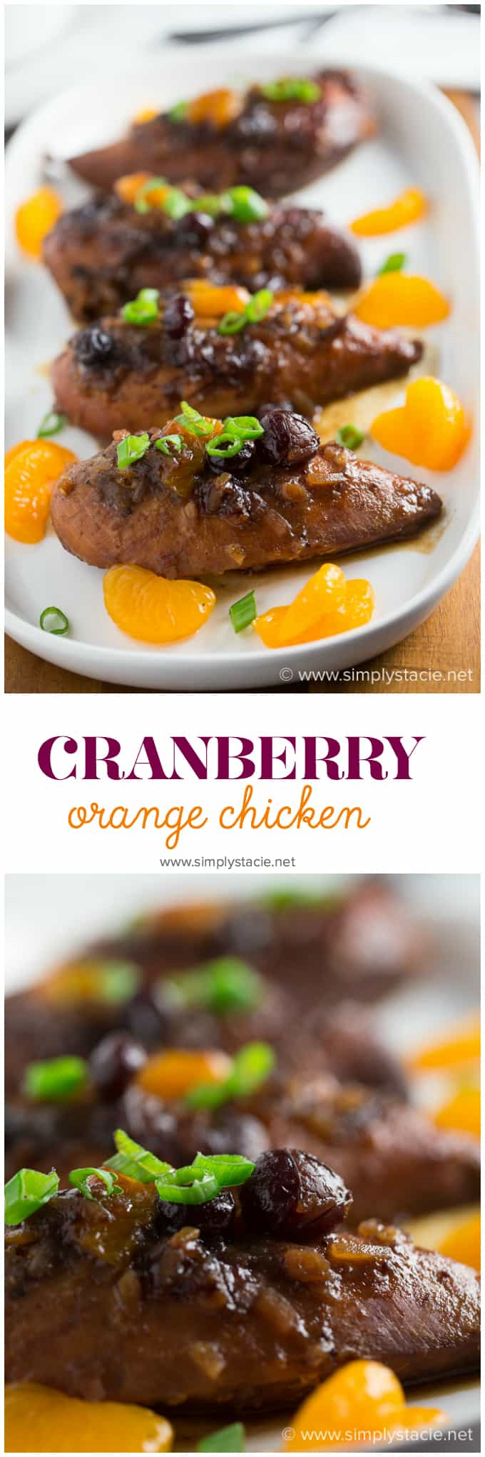 Slow Cooker Cranberry Orange Chicken - Add a tangy twist to your orange chicken! This Crockpot chicken recipe is perfect for the holiday season with cranberry sauce, ginger, and balsamic vinegar in this Asian-inspired main dish.