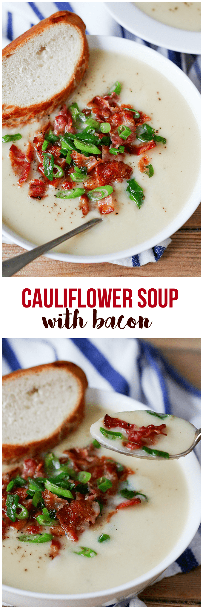 Cauliflower Soup with Bacon - so creamy and luscious, it almost feels indulgent! This comfort food recipe will become an instant favorite.