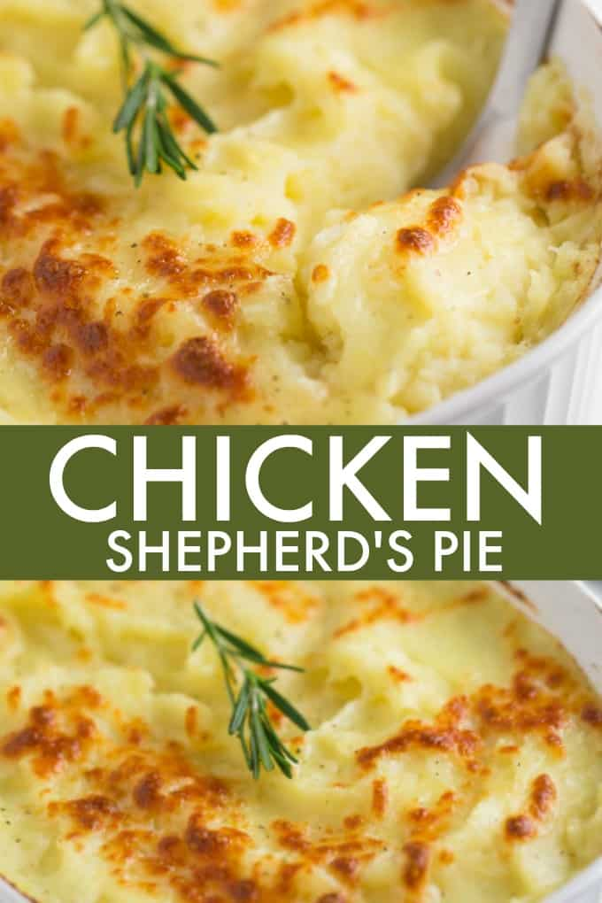 Chicken Shepherd's Pie - Not your mama's Shepherd Pie! This version is made with a creamy curry sauce that is out of this world. Topped with a heavenly layer of mashed potatoes and Parmesan cheese, this comfort food recipe will not last long. Mmm good.